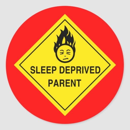 Sleep Deprived Parent Stickers - Red