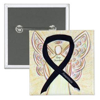 Sleep Disorders Awareness Black Ribbon Angel Pin