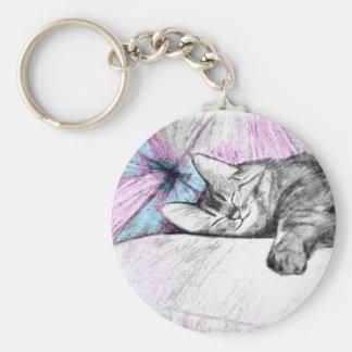 Sleep in Pink Cat Keychain