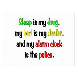 Sleep is my drug postcard