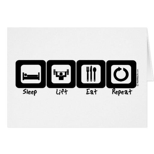 Sleep Lift Eat Repeat Greeting Card