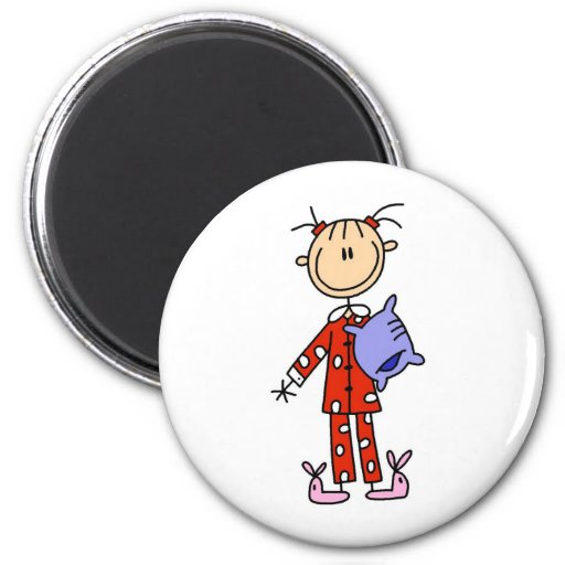 Sleep Over Girl In Her Pajamas Magnet Magnet