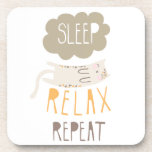 Sleep, Relax, Repeat Calico Cat Beverage Coaster