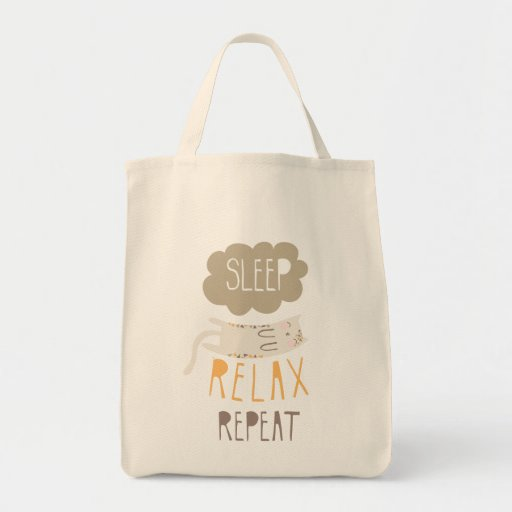Sleep, Relax, Repeat Calico Cat Canvas Bags