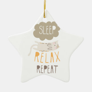 Sleep, Relax, Repeat Calico Cat Christmas Ornaments