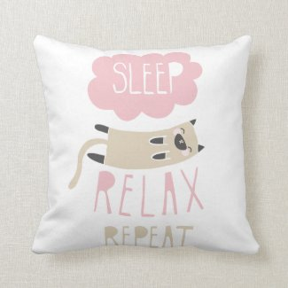 Sleep Relax Repeat Cat Pillow