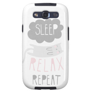 Sleep Relax Repeat Gray Cat Galaxy SIII Covers