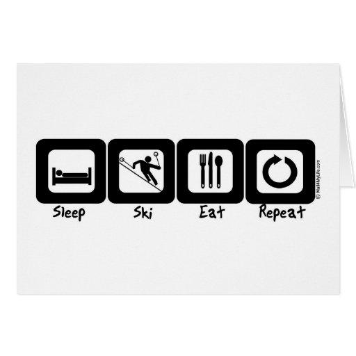 Sleep Ski Eat Repeat Greeting Card
