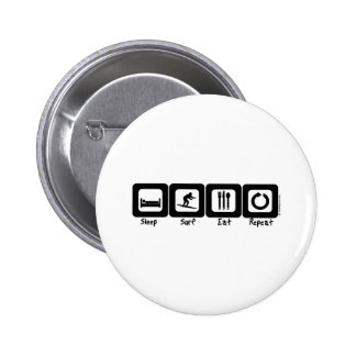 Sleep Surf Eat Repeat Pinback Buttons