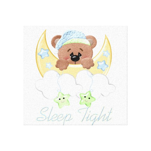Sleep tight little bear canvas print