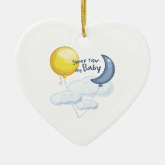 Sleep Tight Double-Sided Heart Ceramic Christmas Ornament