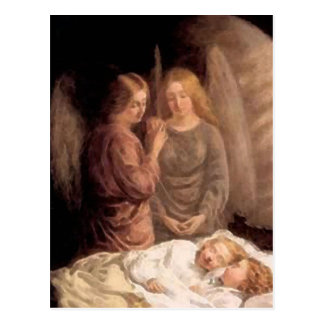 Sleep - Two guardian angels and children Postcard
