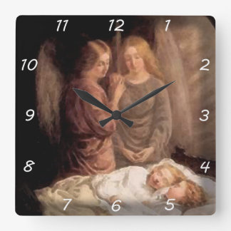 Sleep - Two guardian angels and children Square Wall Clock