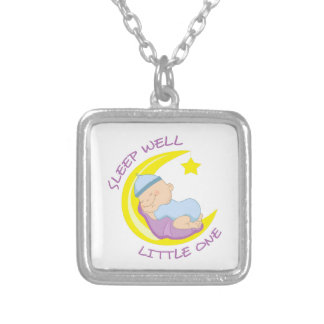 SLEEP WELL LITTLE ONE SQUARE PENDANT NECKLACE