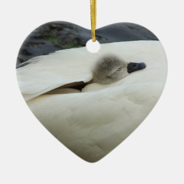 sleep well, little swan ceramic ornament