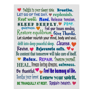 sleep well word collage poster