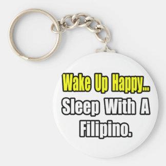 Sleep With a Filipino Basic Round Button Keychain