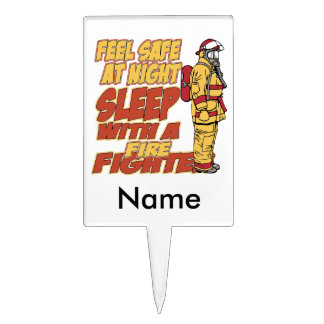 Sleep with a Firefighter Cake Topper