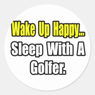 Sleep With a Golfer Classic Round Sticker