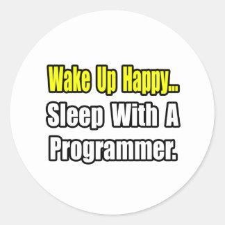 Sleep With a Programmer Classic Round Sticker