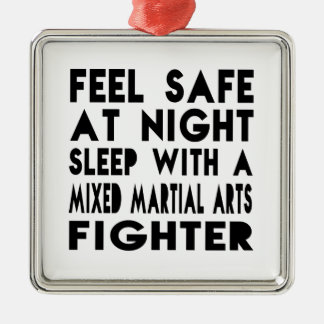 Sleep With Mixed martial arts Fighter Funny Design Square Metal Christmas Ornament