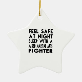 Sleep With Mixed martial arts Fighter Funny Design Double-Sided Star Ceramic Christmas Ornament