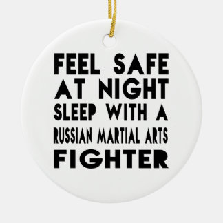 Sleep With Russian Martial Arts Fighter Funny Desi Double-Sided Ceramic Round Christmas Ornament