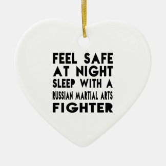 Sleep With Russian Martial Arts Fighter Funny Desi Double-Sided Heart Ceramic Christmas Ornament