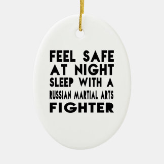 Sleep With Russian Martial Arts Fighter Funny Desi Double-Sided Oval Ceramic Christmas Ornament