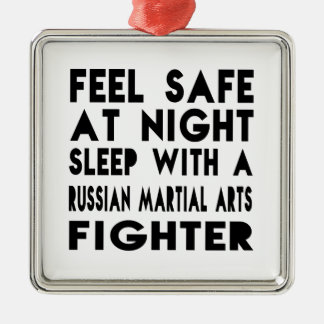Sleep With Russian Martial Arts Fighter Funny Desi Square Metal Christmas Ornament