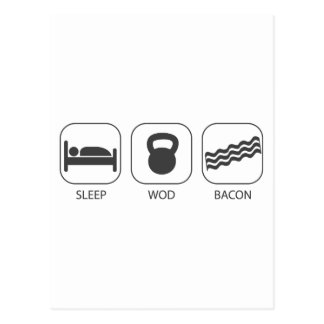 Sleep WOD Bacon - Workout And Weight Lifting Postcard