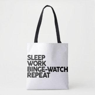 SLEEP, WORK, BINGE-WATCH REPEAT Totes bag