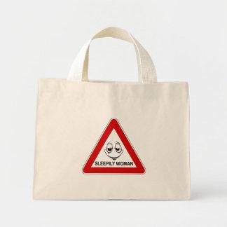 Sleepily woman. Funny road sign. Mini Tote Bag
