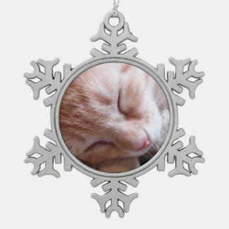 Sleepin' Kitty Snowflake Pewter Christmas Ornament