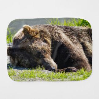 Sleeping Alaska Grizzly Bear Baby Burp Cloth