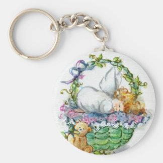 Sleeping Angel Baby w/ Teddy Bear Keychain
