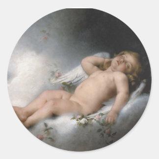 Sleeping Angel by Leon Jean Basile-Perrault Round Sticker