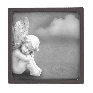 Sleeping angel on grey background, angelic art keepsake box