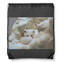 Sleeping Arctic Fox Drawstring Bag