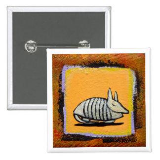Sleeping armadillo pin badge cute fun unique art