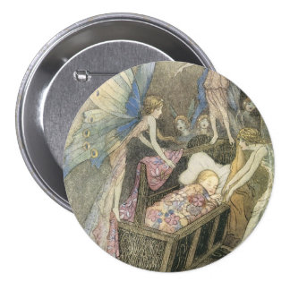 Sleeping Baby and Fairies Pinback Button