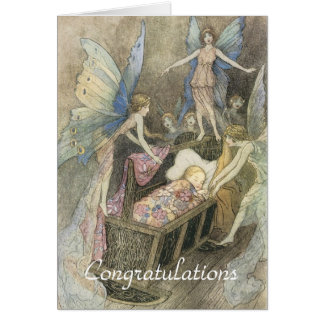 Sleeping Baby and Fairies New Baby Card