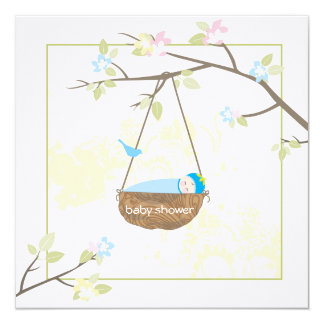 "Sleeping Baby - Baby Shower Invitation 5.25"" Square Invitation Card"