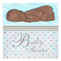 Sleeping Baby Boy Blue Gray Baby Shower Invitations