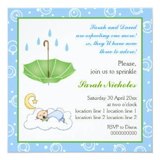 Sleeping baby boy sprinkle blue green invitation
