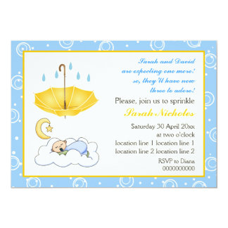 "Sleeping baby boy sprinkle blue yellow invitation 5"" x 7"" invitation card"