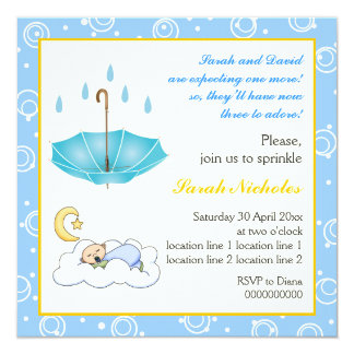 Sleeping baby boy sprinkle blue yellow invitation