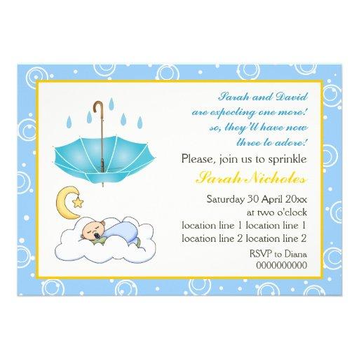 Sleeping baby boy sprinkle blue yellow invitation invite