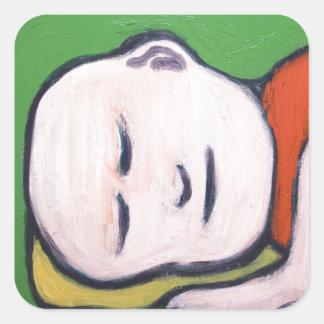 Sleeping Baby Buddha ( Buddhism pop art ) Square Sticker