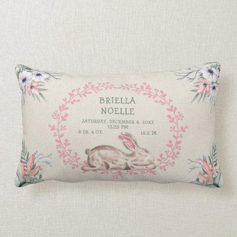 Sleeping Baby Bunny Girl Birth Stats pillow
